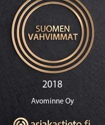 Avominne klinikoille Suomen Vahvimmat 2018 sertifikaatti