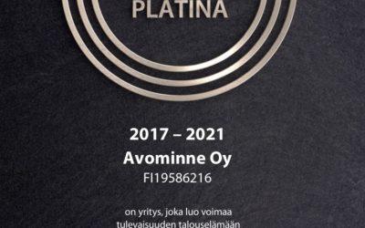 Avominne klinikoille AAA -luottoluokitus ja Suomen Vahvimmat Platina sertifikaatti 2017-2021